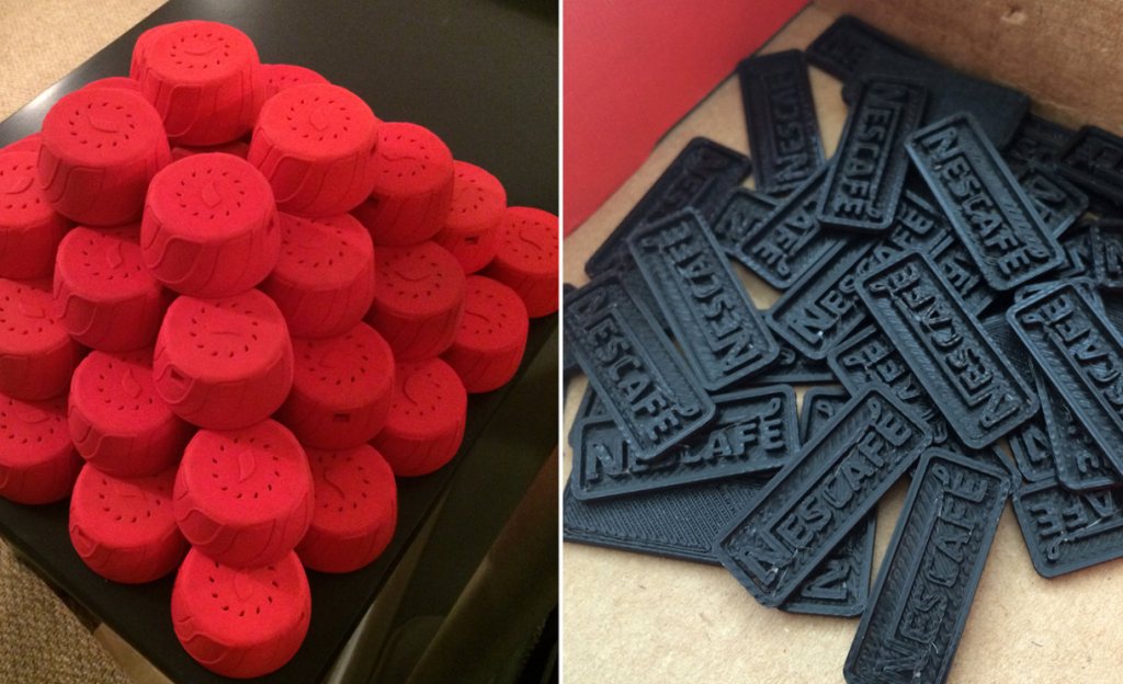 Each Nescafé cap is 3-D printed and assembled in California, and contains a miniature Arduino, LED lights, and a tiny speaker. The Alarm Cap will wake you up in the morning with relaxing light patterns and soothing sounds, such as, says, the warbling of morning birds. To turn off the alarm, you screw off the cap.